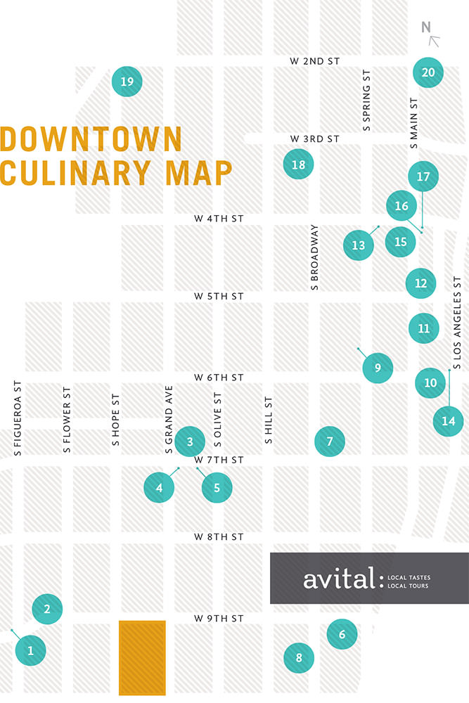 Downtown LA Restaurant Map