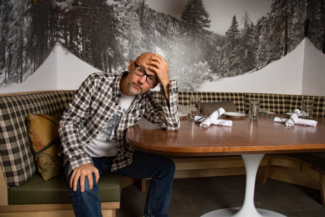 Moby at Little Pine vegan restaurant