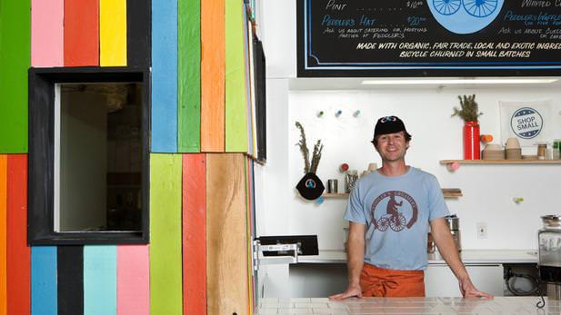 owner Edward Belden at Peddlers Creamery in Los Angeles