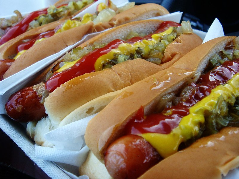 line of hot dogs with toppings best places to eat in los angeles cheap
