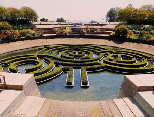 los angeles famous places to visit strolling around the garden at the getty center