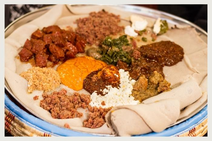a plate of Ethiopian food for virtual supper club