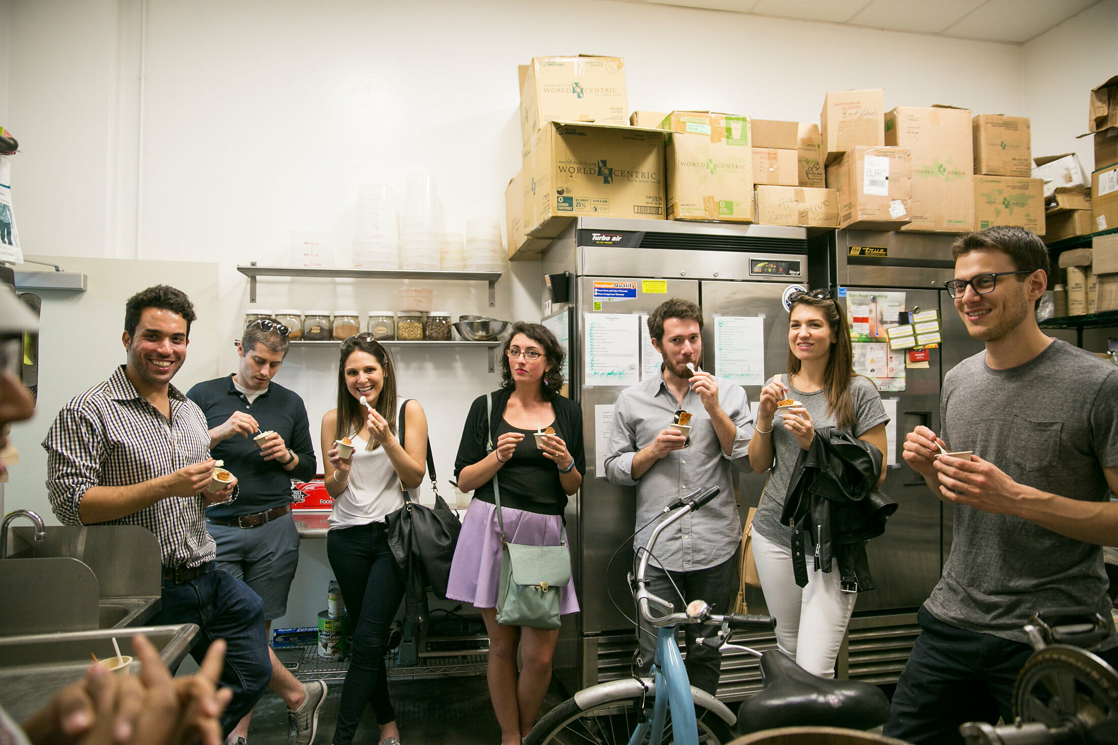 behind the scenes on a corporate team building nyc food tour in the kitchen eating ice cream