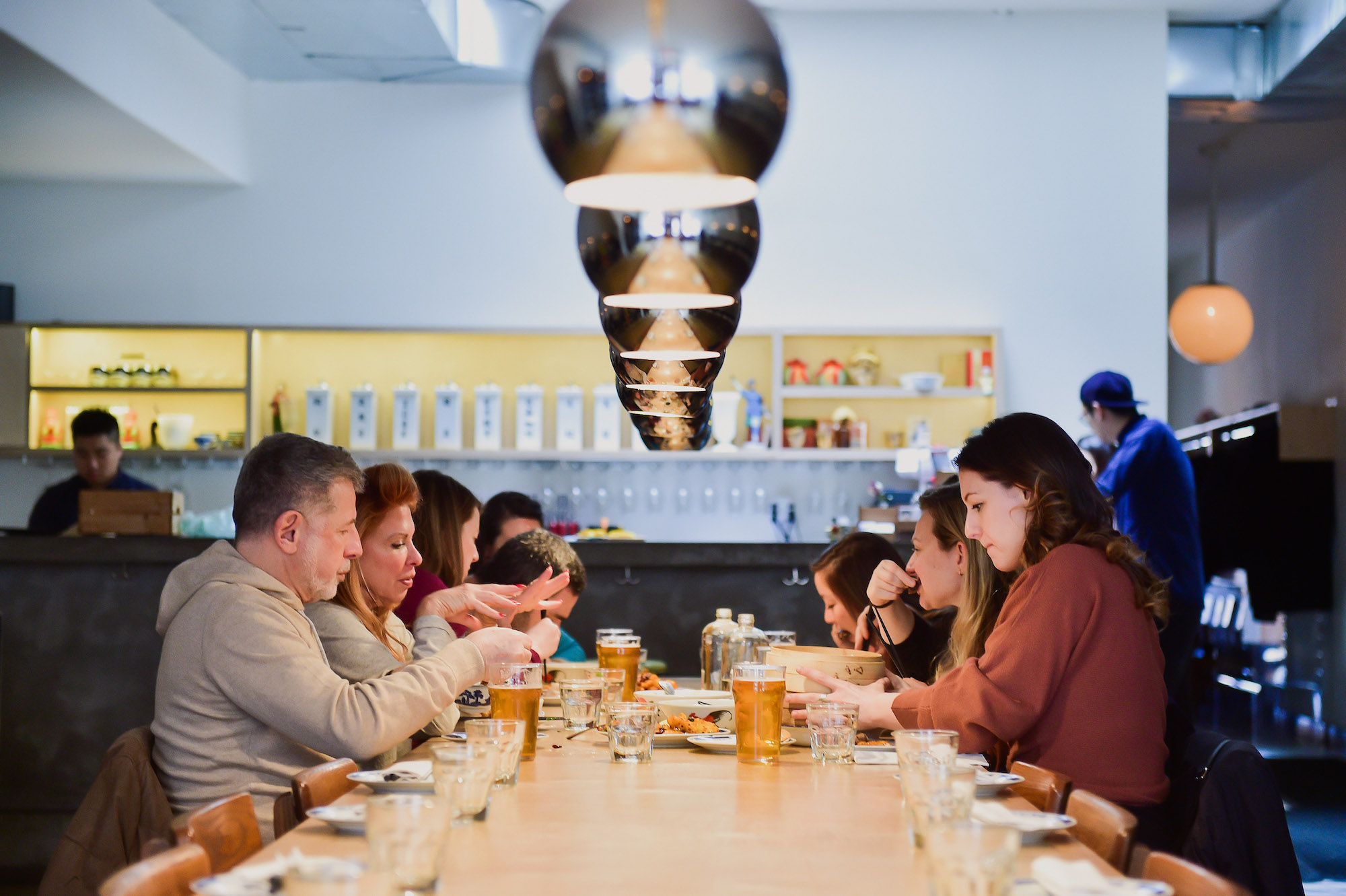 seated communally on nyc private food tours