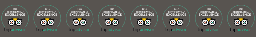 8 certificates of excellence from tripadvisor