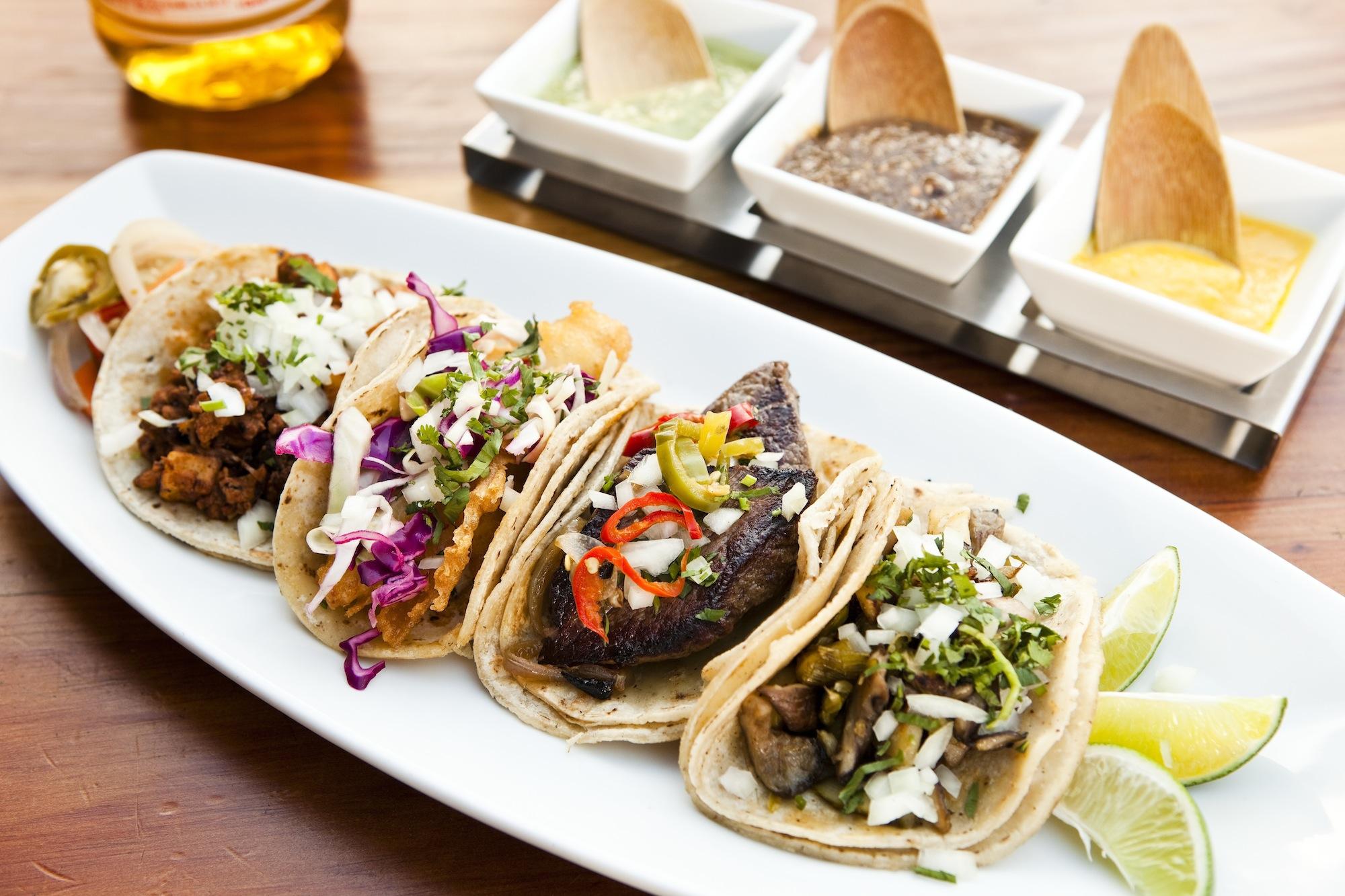 Taco plate at Tacolicious restaurant in San Francisco, CA.