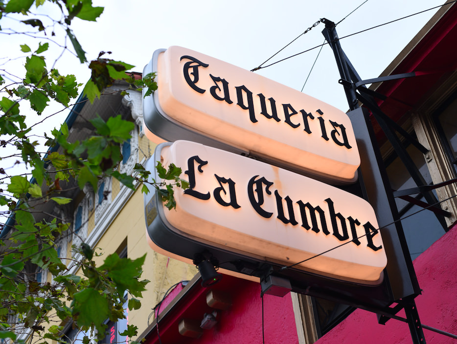 Taqueria La Cumbre sign in San Francisco