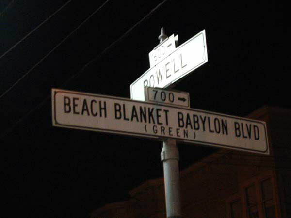 bachelorette party ideas in SF: beach blanket babylon plays