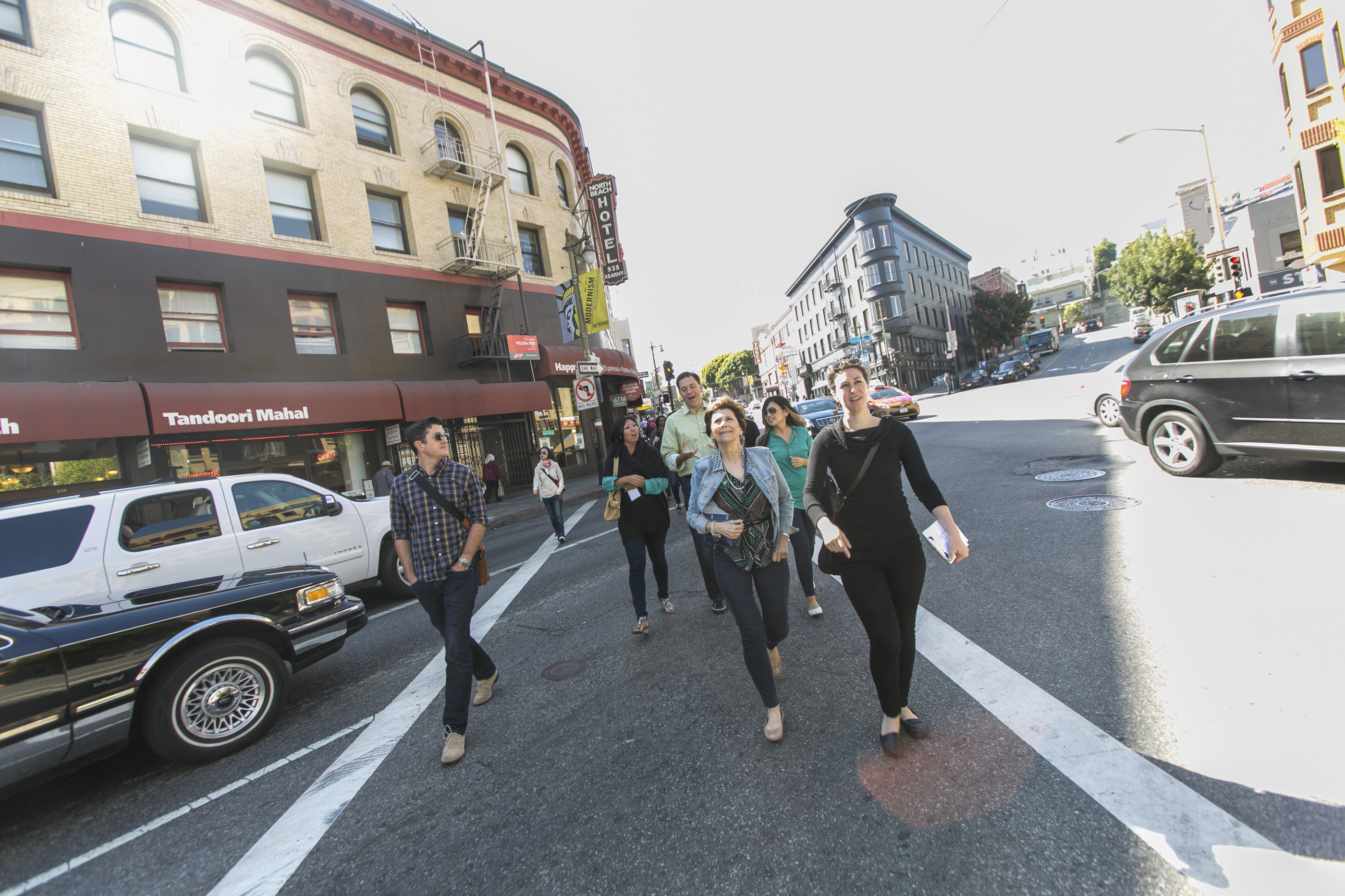 Tour guests walking on Street in North Beach San Francisco's Most Unique Corporate Team Building Experience