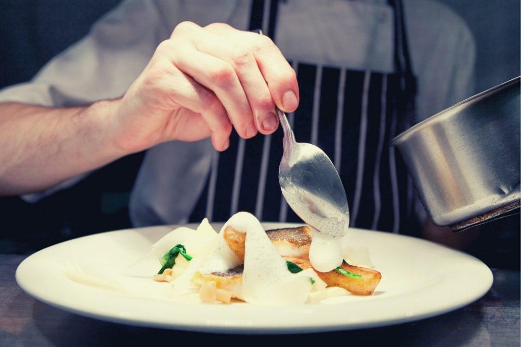 chef plating holiday dish