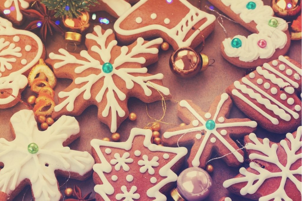 making christmas cookies for virtual holiday party