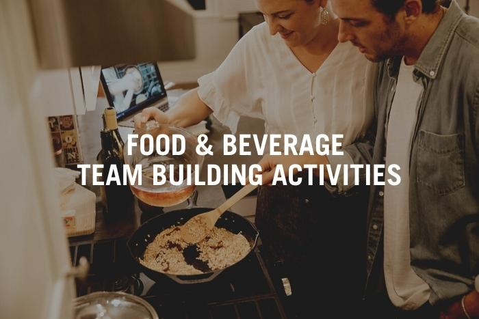 couple cooking during unique virtual team building activities
