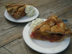 emerald plum and raspberry pie at Three Babes Bakeshop