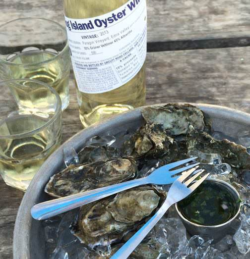 oysters and wine at Hog Island Oyster Company in San Francisco