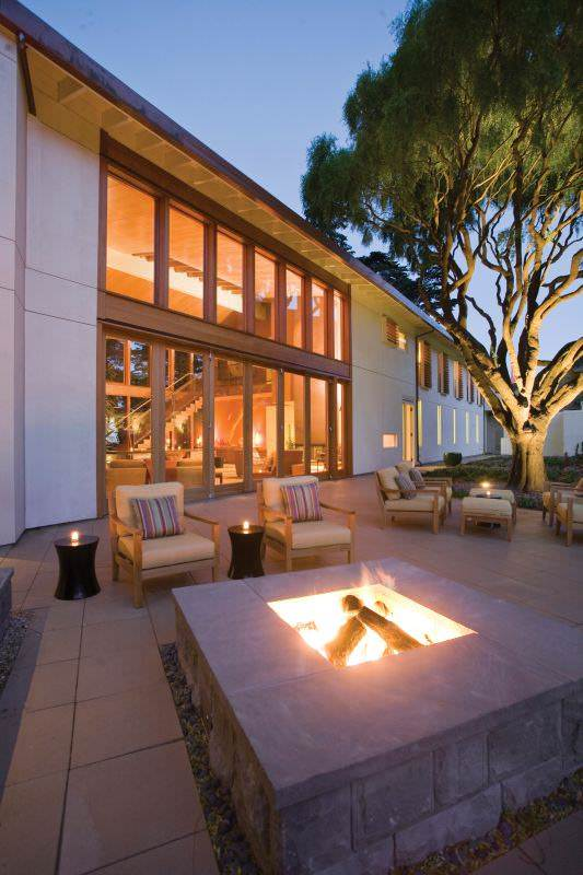 outdoor lounge at Cavallo Point in San Francisco
