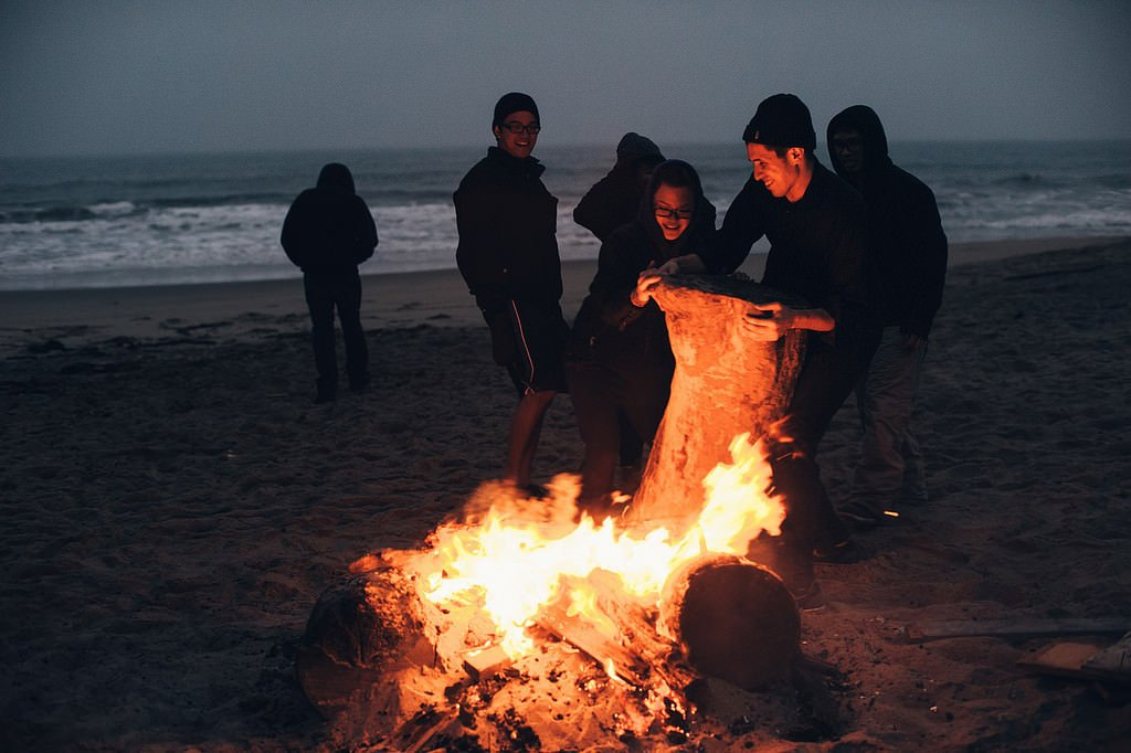 30th birthday party bonfire on San Francisco beach