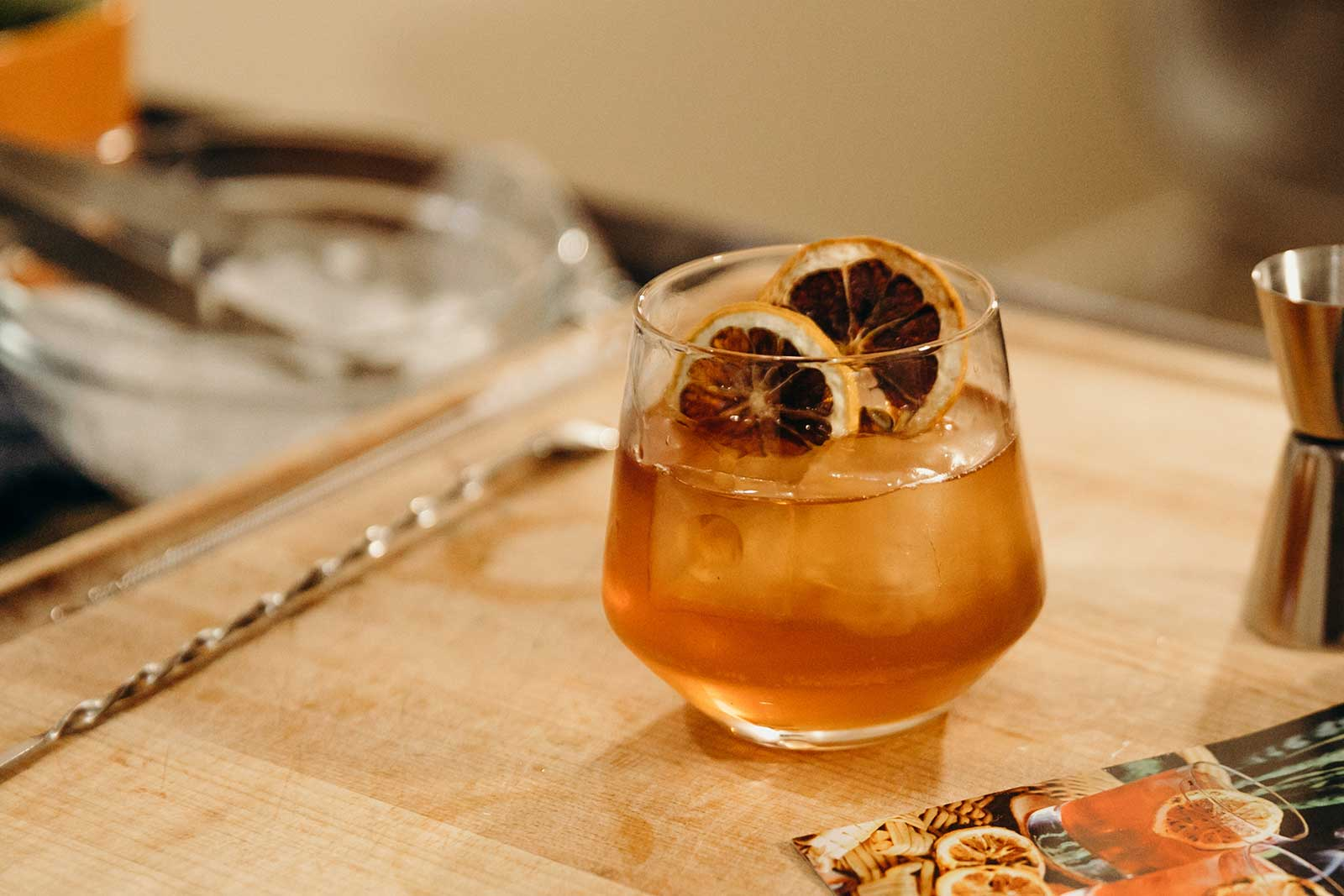 old fashioned cocktail on cutting board during virtual events